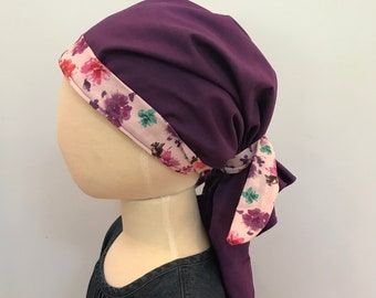 Ava Children's Pre-Tied Head Scarf, Girl's Cancer Hat, Chemo Head Cover, Alopecia Headwear, Head Wrap, Cancer Gift for Hair Loss  Purple
