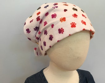 Jaye Children's Flannel Head Scarf, Girl's Cancer Hat, Chemo Head Cover, Alopecia Hat, Head Wrap, Cancer Gift, Hair Loss  Bright Paws