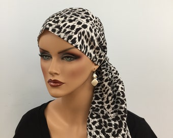 Jessica Pre-Tied Head Scarf, Women's Cancer Headwear, Chemo Scarf, Alopecia Hat, Head Wrap, Head Cover for Hair Loss - White Cheetah