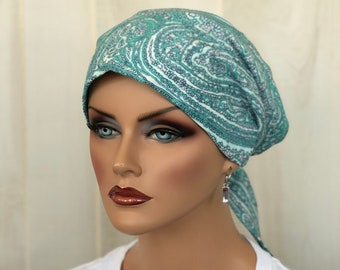 Head Scarf For Women With Hair Loss. Cancer Headwear, Chemo Hat, Alopecia Head Wrap, Hair Wrap, Head Cover, Turban, Sage Green Paisley