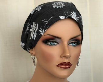 Head Scarf For Women With Hair Loss. Cancer Headwear, Chemo Hat, Alopecia Head Wrap, Hair Wrap, Head Cover, Turban, Charcoal Gray Flowers