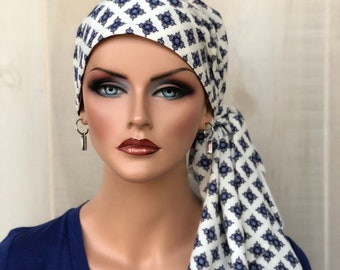 Pre-Tied Head Scarf For Women With Hair Loss. Cancer Headwear, Chemo Hat, Alopecia Head Cover, Hair Wrap, Head Wrap, Turban, Blue Diamonds