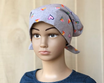 Children's Flannel Head Scarf, Girl's Cancer Hat, Chemo Headwear, Alopecia Head Cover, Head Wrap, Cancer Gift, Hair Loss, Gray Hearts