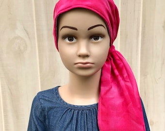 Tie Dye Pre-Tied Head Scarf For Girls With Hair Loss, Chemo Hat, Childhood Cancer, Cancer Gifts