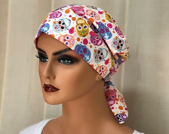 Scrub Caps For Women, Nurse Gift, Scrub Hats, Pink Sugar Skulls