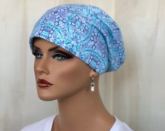 Women's Flannel Head Scarf, Cancer Headwear, Chemo Hat, Alopecia Head Cover, Head Wrap, Turban. Hair Loss, Cancer Gift, Blue Abstract
