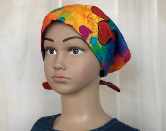 Children's Head Scarf, Girl's Chemo Hat, Cancer Headwear, Alopecia Head Cover, Head Wrap, Cancer Gift for Hair Loss, Rainbow Hearts