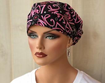 Women's Surgical Scrub Cap, Scrub Hat, Cancer Head Scarf, Chemo Headwear, Alopecia Head Cover, Head Wrap, Hair Wrap, Turban, Love