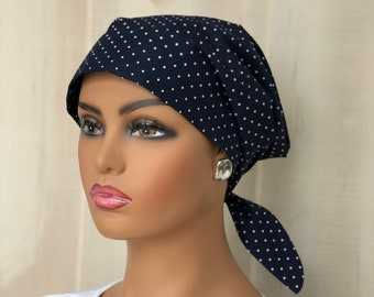Women's  Scrub Cap, Scrub Hat, Cancer Head Scarf, Chemo Headwear, Alopecia Head Cover, Head Wrap, Cancer Gift, Navy Blue Polka Dots