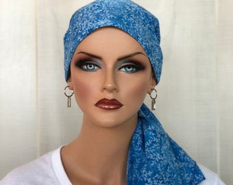 Pre-Tied Head Scarf For Women With Hair Loss, Cancer Gifts, Chemo Headwear, Headwrap, Blue Tie Dye Vines