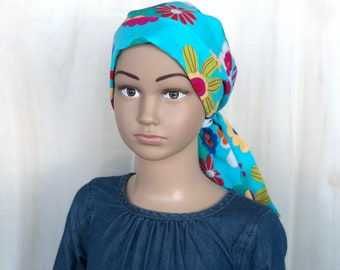 Floral Pre-Tied Head Scarf For Girls With Hair Loss, Chemo Headwear, Ages 4 - 11, Childhood Cancer, Cancer Gifts