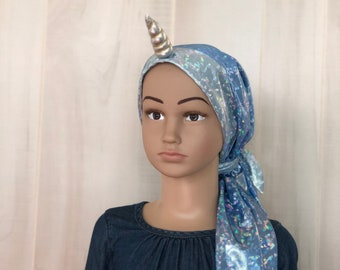 Children's Pre-Tied Head Scarf For Girls. Cancer Hat, Chemo Headwear, Alopecia Head Cover, Head Wrap, Hair Loss. Iridescent Blue Unicorn