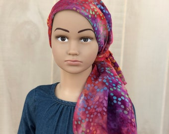Tie Dye Pre-Tied Head Scarf For Girls With Hair Loss, Chemo Headwear, Childhood Cancer, Cancer Gifts