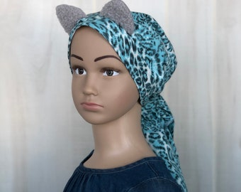Child's Pre-Tied Head Scarf, Girl's Chemo Hat, Cancer Head Cover, Alopecia Headwear, Cancer Gift, Hair Loss, Hair Wrap, Blue Cheetah