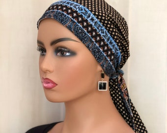 Pre-Tied Head Scarf For Women With Hair Loss, Breast Cancer Gifts, Head Wrap, Boho Black Gold Blue
