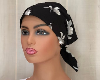 Head Scarf For Women, Gift For Mom, Chemo Headwear, Black With White Flowers