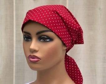 Scrub Caps For Women, Nurse Gift, Scrub Hats, Red White Polka Dots