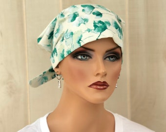 Surgical Cap Women, Nurse Gift, Head Scarf, Watercolor Green Floral
