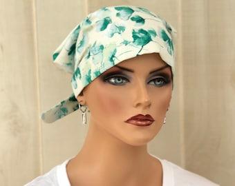 Women's Surgical Scrub Cap, Scrub Hat, Cancer Head Scarf, Chemo Headwear, Alopecia Head Cover, Head Wrap, Hair Wrap, Turban, Green Floral