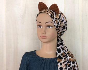 Pre-Tied Head Scarf For Girls, Halloween Costume, Chemo Headwear, Alopecia, Cancer Gifts, Brown Cheetah