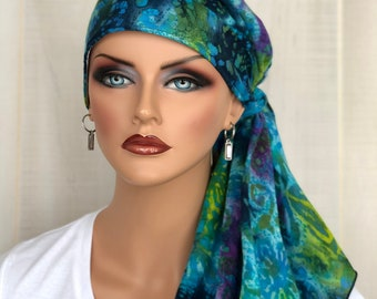 Pre-Tied Tie Dye Head Scarf For Women With HairLoss, Cancer Gifts, Blue And Green Boho HeadWrap