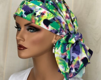 Pre-Tied Head Scarf For Women With HairLoss, Cancer Gifts, Purple Tie Dye HeadWrap