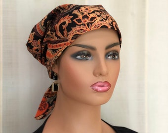 Autumn Head Scarf, Gift For Mom, Chemo Headwear, Orange Brown Paisley