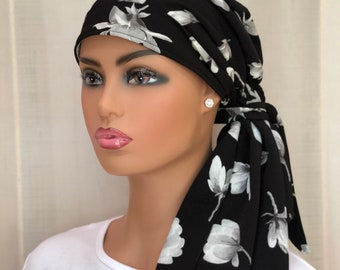 Pre-Tied Head Scarf For Women With Hair Loss, Cancer Gifts, HeadWraps, Black With White Flowers