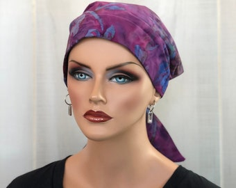 Head Scarf For Women With Hair Loss. Cancer Headwear, Chemo Hat, Alopecia Head Wrap, Hair Wrap, Head Cover, Turban, Purple Batik Flowers
