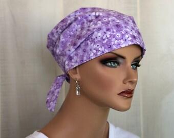Women's Surgical Scrub Cap, Scrub Hat, Cancer Head Scarf, Chemo Headwear, Alopecia Head Cover, Head Wrap, Turban, Lavender Flowers