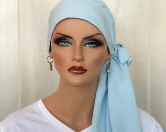 Pre-Tied Head Scarf For Women With Hair Loss, Cancer Gifts, Chemo Headwear, Headwrap, Sky Blue