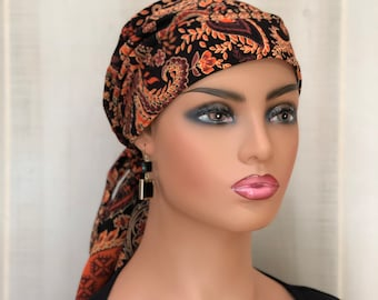 Autumn Pre-Tied Head Scarf, Breast Cancer Gift, Orange Brown Paisley