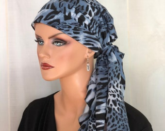 Pre-Tied Head Scarf For Women With Hair Loss, Cancer Gifts, Chemo Headwear, Headwrap, Slate Blue Cheetah