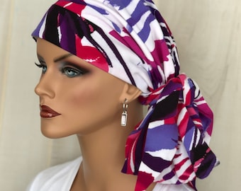 Pre-Tied Tropical Headwrap For Women With HairLoss, Cancer Gifts, Pink And Purple Head Scarf