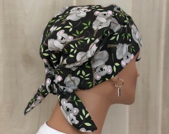 Women's Surgical Scrub Cap, Scrub Hat, Cancer Head Scarf, Chemo Headwear, Alopecia Head Cover, Head Wrap, Hair Wrap, Turban, Koala Bears