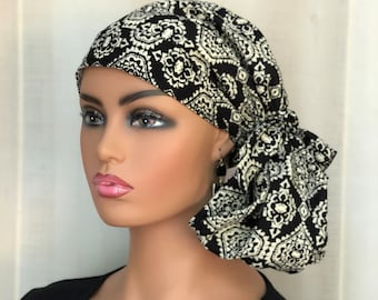 Pre-Tied Head Scarf For Women With Hair Loss, Breast Cancer Gifts, Head Wrap, Black Medallions