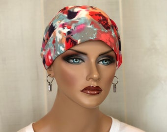 Head Scarf For Women, Gift For Mom, Chemo Headwear, Coral Blue Watercolors