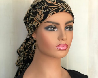 Boho Pre-Tied Head Scarf For Women With Hair Loss, Breast Cancer Gifts, Bohemian Head Wrap
