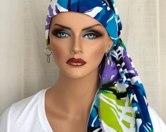 Pre-Tied Tropical Headwrap For Women With HairLoss, Cancer Gifts, Blue And Purple Head Scarf