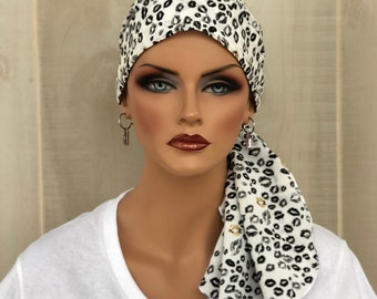 Pre-Tied Head Scarf For Women With Hair Loss. Cancer Headwear, Chemo Hat, Alopecia Head Cover, Hair Wrap, Turban, Black White Kisses