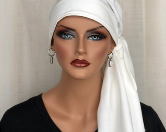 Pre-Tied Spring Head Scarf For Women With HairLoss, Cancer Gifts, Ivory White HeadWrap
