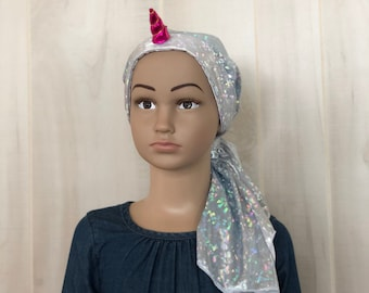 Pre-Tied, Head Scarf, For Girls, Halloween Costume, Chemo Headwear, Alopecia, Cancer Gifts, Silver Unicorn