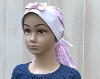 Children's Pre-Tied Head Scarf For Girls With Hair Loss, Gift For Daughter, Chemo Hat,  Pink Unicorns
