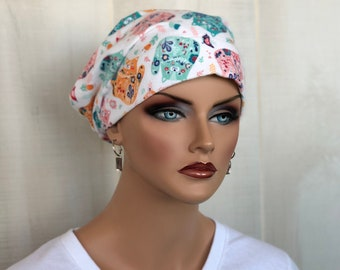 Women's Flannel Head Scarf, Cancer Headwear, Chemo Hat, Alopecia Head Cover, Head Wrap, Turban. Hair Loss, Cancer Gift, Calico Cats