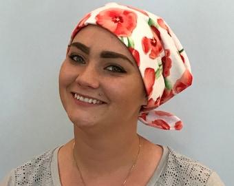 Krystal Women's Flannel Head Scarf, Cancer Hat, Chemo Scarf, Alopecia Head Cover, Head Wrap, Headwear for Hair Loss - Peach Tulips