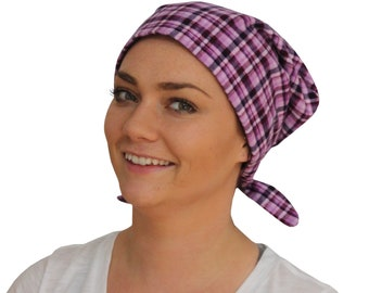 Womens Flannel Head Scarf, Cancer Headwear, Chemo Hat, Alopecia Head Cover, Head Wrap, Hair Loss Gift, Cancer Gift, Chemo Gift, Purple Plaid