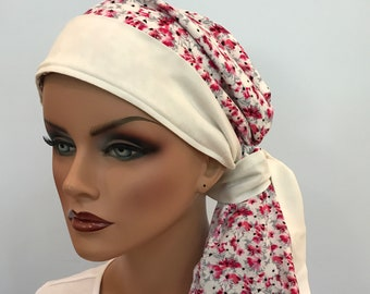 Pre-Tied Head Scarf, Women's Cancer Headwear, Chemo Head Cover, Alopecia Hat, Head Wrap, Hair Loss, Cancer Gift, Chemo Gift, Pink Floral