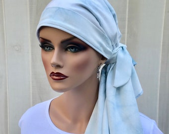 Pre-Tied Head Scarf For Women With Hair Loss. Cancer Headwear, Chemo Head Cover, Alopecia Hat, Head Wrap, Turban, Denim Blue Tie Dye