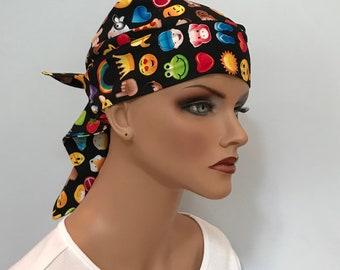 Jenna's Women and Girl's Doo Rag, Reversible Bandana, Chemo Hat, Cancer Headwear, Alopecia Scarf, Head Cover, Hair Loss, Cancer Gift, Emojis