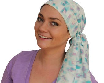Jessica Pre-Tied Head Scarf - Women's Cancer Headwear, Chemo Scarf, Alopecia Hat, Head Wrap, Head Cover for Hair Loss - Teal Watercolors